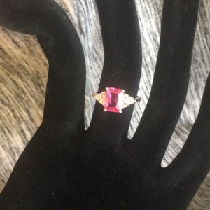Pink tourmaline sterling silver ring A12